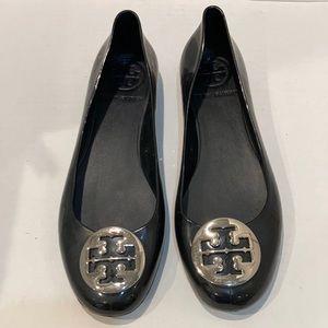 Tory Burch Jelly Rubber Black Reva Flats Size 9.5